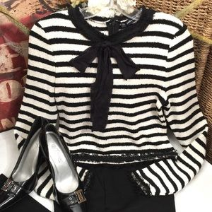 """Zara"" black and off-white striped knit sweater- S"